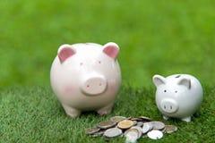 Αποταμίευση χρημάτων τράπεζας Piggy με το πράσινο υπόβαθρο νομισμάτων Στοκ Φωτογραφία