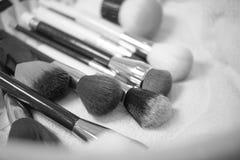 Αποτελέστε τη συλλογή βουρτσών το μαύρο λευκό Στοκ Εικόνες
