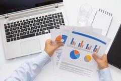 Αποτελέσματα λογιστικής εκμετάλλευσης επιχειρηματιών της επιχείρησής του POV Στοκ φωτογραφία με δικαίωμα ελεύθερης χρήσης