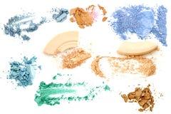 Αποτελέστε θέτει των διάφορων συντριμμένων σκιών ματιών και η σκόνη απομονώνει στοκ εικόνα με δικαίωμα ελεύθερης χρήσης