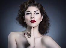 Αποτελέστε την έννοια η μόδα προσώπου ομορφιάς αποτελεί τη γυναίκα στοκ εικόνες με δικαίωμα ελεύθερης χρήσης