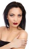 Αποτελέστε την όμορφη κυρία τα κόκκινα χείλια Στοκ εικόνες με δικαίωμα ελεύθερης χρήσης