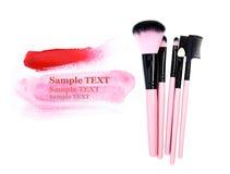 Αποτελέστε τη βούρτσα να απομονώσει στο λευκό με το ροζ χρωμάτων για το κείμενό σας (κείμενο δείγμα) στοκ φωτογραφία με δικαίωμα ελεύθερης χρήσης