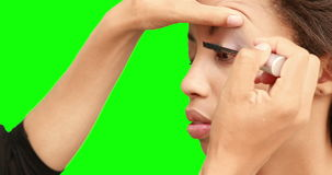Αποτελέστε τον καλλιτέχνη που βάζει mascara στο πρόσωπο προτύπων απόθεμα βίντεο