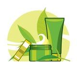 Αποτοξινώνοντας κρέμα και τονωτικό για την προσοχή από το πράσινο φύλλο ελεύθερη απεικόνιση δικαιώματος