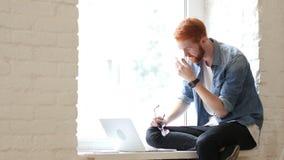 Αποτυχία, που λειτουργεί στο lap-top, ματαιωμένη συνεδρίαση ατόμων στο παράθυρο απόθεμα βίντεο