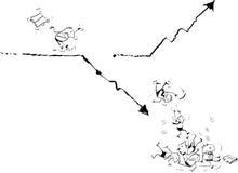 Αποτυχημένος επιχειρηματίας που τρέχει στη γραφική παράσταση επιχειρησιακών γραμμών Απεικόνιση αποθεμάτων