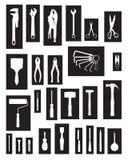 Αποτύπωση και εργαλεία άσπρες και μαύρες διανυσματική απεικόνιση