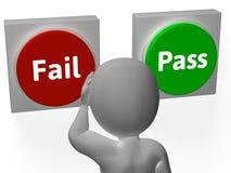 Αποτύχετε τα κουμπιά περασμάτων παρουσιάζει την απόρριψη ή επικύρωση ελεύθερη απεικόνιση δικαιώματος