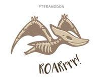 Απολίθωμα δεινοσαύρων κινούμενων σχεδίων pteranodon επίσης corel σύρετε το διάνυσμα απεικόνισης διανυσματική απεικόνιση