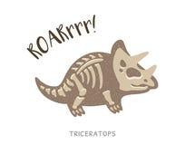 Απολίθωμα δεινοσαύρων κινούμενων σχεδίων triceratops επίσης corel σύρετε το διάνυσμα απεικόνισης απεικόνιση αποθεμάτων