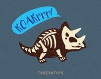Απολίθωμα δεινοσαύρων κινούμενων σχεδίων triceratops επίσης corel σύρετε το διάνυσμα απεικόνισης ελεύθερη απεικόνιση δικαιώματος
