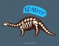 Απολίθωμα δεινοσαύρων camarasaurus κινούμενων σχεδίων επίσης corel σύρετε το διάνυσμα απεικόνισης ελεύθερη απεικόνιση δικαιώματος