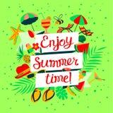 Απολαύστε την εγγραφή θερινού χρόνου Έμβλημα παραθαλάσσιων διακοπών με το καλοκαίρι ο απεικόνιση αποθεμάτων