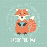 Απολαύστε την κάρτα ημέρας με μια χαριτωμένη αλεπού Στοκ Εικόνες