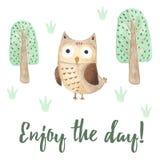 Απολαύστε την κάρτα ημέρας με μια χαριτωμένη κουκουβάγια Στοκ Εικόνες