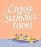 Απολαύστε τη γράφοντας αφίσα θερινού χρόνου Υπόβαθρο με το νησί κινούμενων σχεδίων διανυσματική απεικόνιση