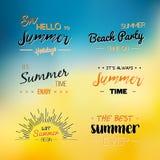 Απολαύστε το πρότυπο λογότυπων θερινού χρόνου Διανυσματική τυπογραφική ετικέτα σχεδίου Εγγραφή διακοπών Τροπικός παράδεισος κομμά Στοκ Φωτογραφίες