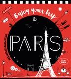 Απολαύστε το ταξίδι σας στο Παρίσι διανυσματική απεικόνιση