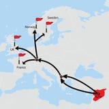 Αποδημητική διαδρομή από τη Συρία Προορισμοί στο χάρτη Στοκ φωτογραφία με δικαίωμα ελεύθερης χρήσης