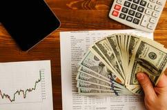 Αποδοχές από τις εμπορικές συναλλαγές στο χρηματιστήριο Στοκ Εικόνα