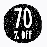 70% ΑΠΟ την έκπτωση Απεικόνιση τιμών προσφοράς έκπτωσης Συρμένο χέρι διανυσματικό σύμβολο έκπτωσης Μαύρος αφηρημένος κύκλος Στοκ φωτογραφία με δικαίωμα ελεύθερης χρήσης
