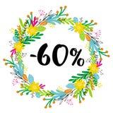 60% ΑΠΟ την έκπτωση Πώληση Floral διανυσματικό στεφάνι Μαύρο κείμενο Στοκ φωτογραφία με δικαίωμα ελεύθερης χρήσης