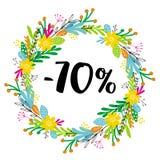 70% ΑΠΟ την έκπτωση Πώληση Floral διανυσματικό στεφάνι Διανυσματικό σύμβολο έκπτωσης Στοκ εικόνα με δικαίωμα ελεύθερης χρήσης
