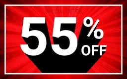 55% ΑΠΟ την πώληση Άσπρο τρισδιάστατο κείμενο χρώματος και μαύρη σκιά στο κόκκινο σχέδιο υποβάθρου έκρηξης ελεύθερη απεικόνιση δικαιώματος