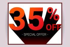 35% ΑΠΟ την πώληση Ειδική κάρτα διαφήμισης promo προσφοράς έκπτωσης διανυσματική απεικόνιση