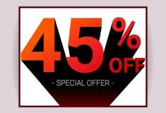 45% ΑΠΟ την πώληση Ειδική κάρτα διαφήμισης promo προσφοράς έκπτωσης ελεύθερη απεικόνιση δικαιώματος
