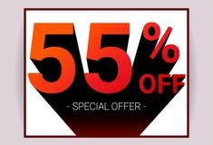 55% ΑΠΟ την πώληση Ειδική κάρτα διαφήμισης promo προσφοράς έκπτωσης ελεύθερη απεικόνιση δικαιώματος