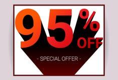 95% ΑΠΟ την πώληση Τρισδιάστατο κείμενο κόκκινου χρώματος και μαύρη σκιά στο άσπρο σχέδιο υποβάθρου διανυσματική απεικόνιση