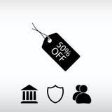 50% ΑΠΟ το εικονίδιο ετικεττών, διανυσματική απεικόνιση Επίπεδο ύφος σχεδίου Στοκ Εικόνες