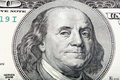 Απολυμένο μακρο πορτρέτο του Benjamin Franklin Στοκ Εικόνες
