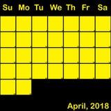2018 Απρίλιος κίτρινος στο μαύρο ημερολόγιο αρμόδιων για το σχεδιασμό μεγάλο διανυσματική απεικόνιση