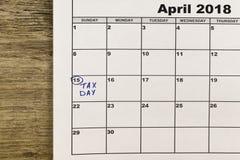 15 Απριλίου, φορολογική ημέρα στις Ηνωμένες Πολιτείες Στοκ Φωτογραφίες