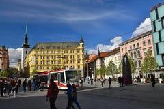 16 Απριλίου 2017 η πόλη του Μπρνο - Δημοκρατία της Τσεχίας - Ευρώπη Πύλη του παλαιού Δημαρχείου Στοκ Εικόνες