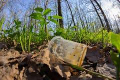 Απρόσεκτα ρίξτε μακριά το πλαστικό μπουκάλι στα απορρίματα φυλλώματος μια δασική πορεία στοκ φωτογραφία