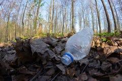 Απρόσεκτα ρίξτε μακριά το πλαστικό μπουκάλι στα απορρίματα φυλλώματος μια δασική πορεία στοκ εικόνα
