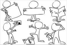 Απρόσωποι χαρακτήρες με τα εμβλήματα διανυσματική απεικόνιση