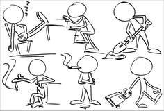 Απρόσωποι χαρακτήρες που καπνίζουν και που εργάζονται διανυσματική απεικόνιση