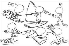 Απρόσωποι χαρακτήρες που παίζουν τον αθλητισμό Στοκ Εικόνες