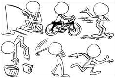 Απρόσωποι χαρακτήρες που παίζουν τον αθλητισμό απεικόνιση αποθεμάτων