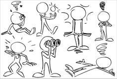 Απρόσωποι χαρακτήρες που συγκλονίζονται και Dezzy Στοκ Εικόνες