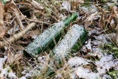 Απόβλητα και σκουπίδια στα δασικά πλαστικά μπουκάλια, τα δοχεία και το γυαλί Στοκ φωτογραφία με δικαίωμα ελεύθερης χρήσης
