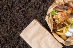 Απόβλητα τροφίμων λίπασμα από τα απόβλητα τροφίμων περιβαλλοντικός έλεγχος στοκ εικόνα με δικαίωμα ελεύθερης χρήσης