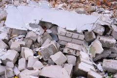 Απόβλητα κατασκευής Ένας σωρός των αποβλήτων κατασκευής, κινηματογράφηση σε πρώτο πλάνο Στοκ Φωτογραφία