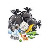 Απόβλητα στο άσπρο διάνυσμα διανυσματική απεικόνιση