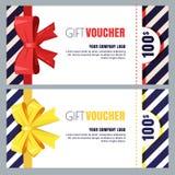 Απόδειξη δώρων, πιστοποιητικό ή διανυσματικό σχεδιάγραμμα σχεδίου δελτίων Πρότυπο εμβλημάτων έκπτωσης ή ευχετήριων καρτών διακοπώ διανυσματική απεικόνιση